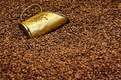 Koper die kop in koffiebonen meten Stock Afbeelding