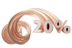 Koper grijze percentages op een witte achtergrond 3D Illustratie Stock Fotografie