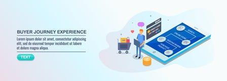 Koper het kopen via mobiele telefoon, m-handel, online winkelend, klantenervaring, het concept van de reiskaart vector illustratie