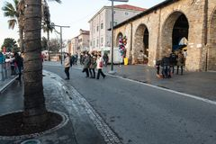 Koper, Slovenia - December 25, 2018 : people buying handcrafts on christmas market. Koper, Slovenia - December 25, 2018 : people buying handcrafts on christmas royalty free stock image