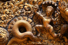 Koperachtige hulp, beeldhouwwerk van Shiva Royalty-vrije Stock Afbeeldingen