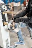 Koperelektroden, werkend deel van de machine voor vleklassen van metaal de productie van ventilatie en goten royalty-vrije stock afbeeldingen