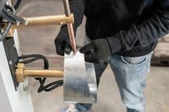 Koperelektroden, werkend deel van de machine voor vleklassen van metaal de productie van ventilatie en goten royalty-vrije stock foto's