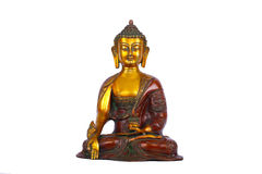 Koperstandbeeld van gezette Boedha Stock Foto's