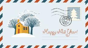 Koperta z śnieżystym koloru żółtego domem, drzewami i ilustracji