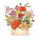 Koperta z asortowanymi kwiatami royalty ilustracja