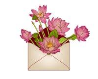 Koperta z różowymi lotosowymi kwiatami ilustracji