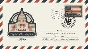 Koperta z Waszyngtońskim Capitol i flaga amerykańską royalty ilustracja
