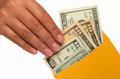 kopertowej ręki ludzki pieniądze ludzki bierze Fotografia Stock
