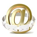 Koperty wokoło złotego emaila znaka 3 d czynią ilustracji