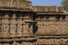 Kopeshwar tempel Sniden yttre sikt Khidrapur Kolhapur, Maharashtra, Indien Royaltyfri Fotografi