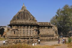 Kopeshwar tempel tillbaka sikt Khidrapur Kolhapur, Maharashtra, Indien Royaltyfri Fotografi