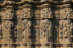 Kopeshwar temple. Carved exterior view. Khidrapur, Kolhapur, Maharashtra, India. PLACE: Khidrapur, Dist. Kolhapur, Maharashtra State, India. The exterior has royalty free stock image