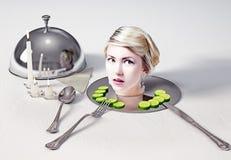 Kopf auf einem Teller lizenzfreie stockfotos