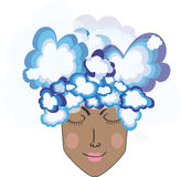 Kopf in den Wolken Stockbild