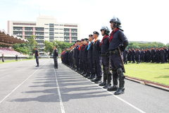 Kopf der Bereitschaftspolizei ausgerichtet Stockfotografie