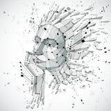 Kopf der künstlichen Intelligenz, niedriges Polywireframe Vektor der art 3d Stockfotos