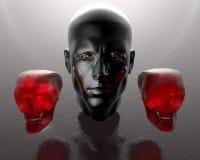Kopf der Männer 3d mit zwei Glasschädeln Stockfoto