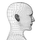 Kopf der Person von einem Rasterfeld 3d stock abbildung