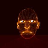 Kopf der Person von einem Rasterfeld 3d Menschlicher Kopf-Modell Gesichts-Scannen Ansicht des menschlichen Kopfes geometrisches D Stockfotografie