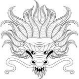 Kopf des chinesischen Drachen in zentangle Art für tatoo Erwachsene antistress Farbtonseite Schwarzweiss-Hand gezeichnetes Gekrit Stockfotografie