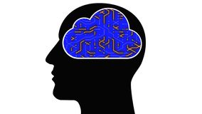 Kopf des Gehirns 4k schließen Digitalanschlüsse, künstliche Intelligenz AI, Wolkendatenverarbeitung an lizenzfreie abbildung
