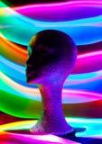 Kopf des Mannequins mit Funken und Lichtwellen Stockfotos