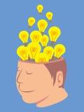 Kopf des Menschen mit vieler Glühlampe Lizenzfreie Stockfotografie