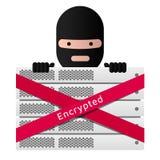 Kopf des ransomware und Servergestells Rotes Band verschlüsselt Stockfotografie