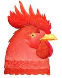 Kopf des roten Hahnes mit einem gelben Schnabel stock abbildung