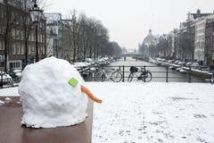 Kopf des Schneemannes im Winter in Amsterdam Lizenzfreies Stockfoto