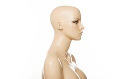 Kopf eines weiblichen Mannequins im Profil lokalisiert auf Weiß Lizenzfreies Stockbild