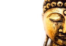 Kopf goldener Buddha-Statue auf weißem Hintergrund stockfoto