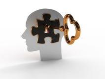 Kopf mit einem Puzzlespiel und einer Taste. Bild 3D Lizenzfreies Stockbild