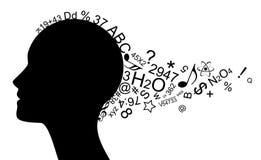 Kopf mit vielen Informationen Stockbild