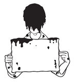 Kopf tauchte im Schlamm mit unbelegter Zeichen-Abbildung ein Stockfoto