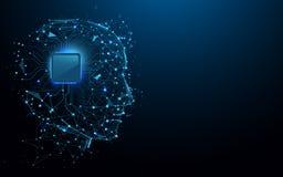 Kopf- und Computer-Chip-Formlinien, Dreiecke und Partikelart entwerfen lizenzfreie abbildung