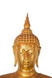 Kopf von Buddha auf weißem Hintergrund Stockfotografie