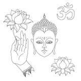 Kopf von Buddha OM kennzeichnen Hand gezeichnete Buddha-Hand mit Lotosblume Lokalisierte Ikonen von Mudra Schönes ausführliches,  Stockbilder
