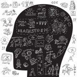 Kopf von Geschäftsikonen und -gekritzeln Stockbilder