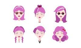 Kopf von reizenden Mädchen mit purpurrotem Haarsatz, verschiedene Arten von weiblichen Frisuren vector Illustration auf einem Wei vektor abbildung