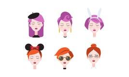 Kopf von schönen Mädchen mit geschlossenen Augen stellte, verschiedene Arten von weiblichen Frisuren ein und Kopfschmucke vector  stock abbildung
