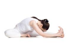Kopf zu Knierumpfbeuge-Yoga asana stockfotografie