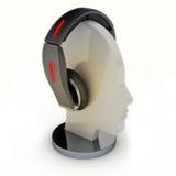 Kopfhörer auf einem Mannequinkopf. Stockfotografie