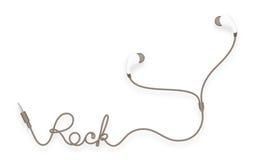 Kopfhörer, in der Ohrart Braunfarbe und Felsentext gemacht vom Kabel Stock Abbildung