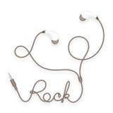 Kopfhörer, in der Ohrart Braunfarbe und Felsentext gemacht vom Kabel Vektor Abbildung