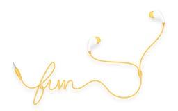 Kopfhörer, in der Ohrart Farbe des orange Gelbs und Spaßtext gemacht vom Kabel Lizenzfreie Abbildung