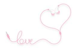 Kopfhörer, in der Ohrart Rosafarbe und Liebestext gemacht vom Kabel Lizenzfreie Abbildung