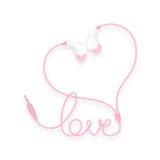 Kopfhörer, in der Ohrart Rosafarbe und Liebestext gemacht vom Kabel Vektor Abbildung