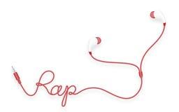 Kopfhörer, in der Ohrart rote Farb- und Pochentext gemacht vom Kabel Vektor Abbildung